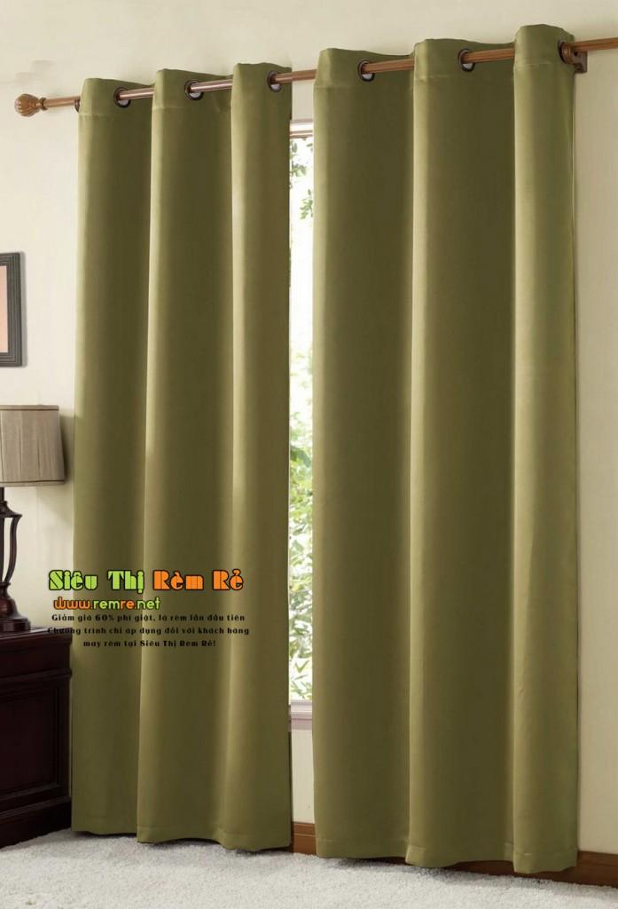 Rèm cửa vải xanh rêu 044