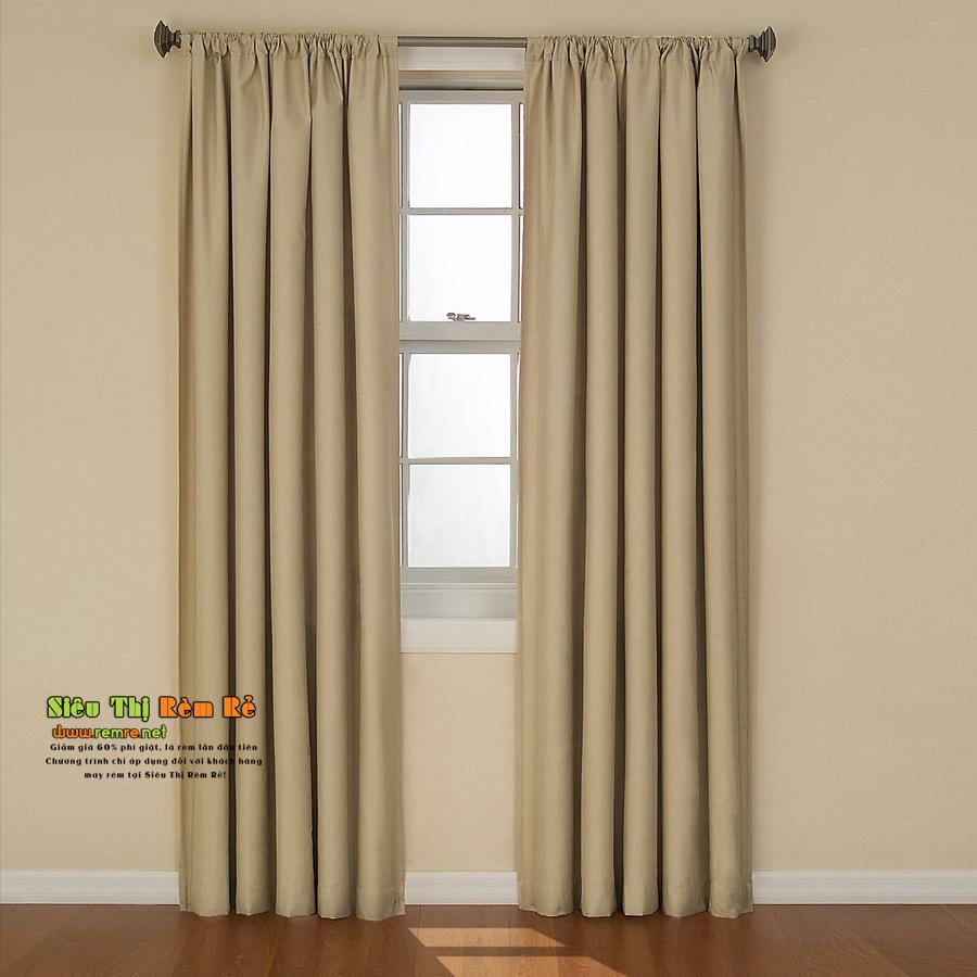 Rèm cửa màu kaki vải thô